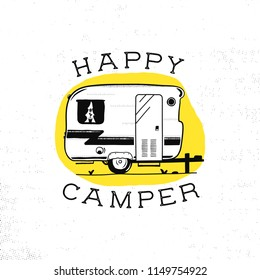 Mobile recreation. Happy Camper trailer in sketch silhouette style. Vintage hand drawn camp rv. House on wheels. Travel Transport emblem. Stock vector isolated on yellow circle.