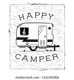 Mobile recreation. Happy Camper trailer in sketch silhouette style. Vintage hand drawn camp rv. House on wheels. Travel Transport emblem. Stock vector isolated on white background.