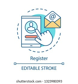 Mobile register concept icon. Sign in, up idea thin line illustration. Log in, create profile. Smartphone account registration. Confirmation letter. Vector isolated outline drawing. Editable stroke