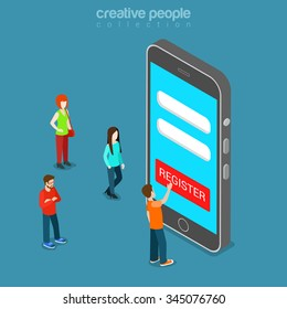 Mobile registration app flat 3d isometry isometric concept web vector illustration. Login password personal data form GUI on smart phone screen and micro man press register. Creative people collection