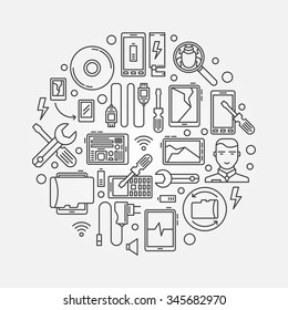 Mobile repair illustration - vector mobile smart-phone and tablet maintenance logo template
