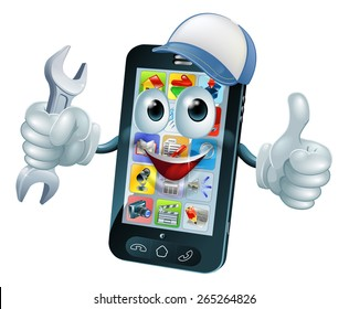 Mobile repair mascot phone mascot person giving a thumbs up while holding a wrench or spanner and wearing a cap