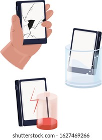 Mobile repair and service concept. Set with Smartphone cracked screen, broken battery and water damage. Isometric vector illustration