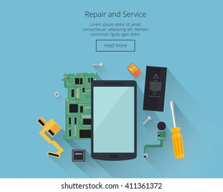 Mobile repair and service concept. Smartphone with tools and spare parts.Top view. Flat design concepts for web banners, web sites, printed materials, infographics. Creative vector illustration