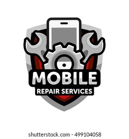 mobile repair services logo icon emblem vector
