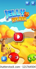 Mobile Reskin - Match 3 Splash Screen Concept / Jelly Game Asset with GUI