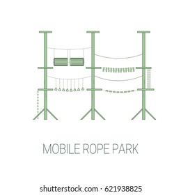 Mobile rope park.  Vector illustration.