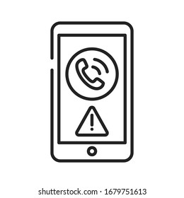 Mobile scam black line icon on white background. Phone call from an unknown number. Phone Call Security. Pictogram for web page, mobile app, promo. UI UX GUI design element. Editable stroke