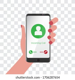 Mobile screen with call mode. Image with avatar.