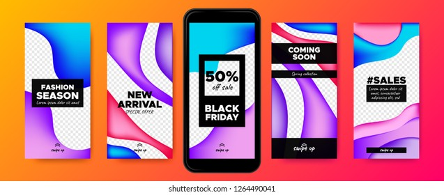 Mobile Screen Design. Stories Templates with Colorful Liquid Shapes. Web Frames for Photo or Sales Presentation. Promotion on Social Media on Mobile Phone. Swipe Up Buttons, Trendy Sales Posters.