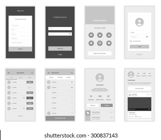 Mobile Screens User Interface Kit. Modern user interface UX, UI screen template for mobile smart phone or responsive web site. Welcome, on boarding, login, sign-up and home page layout.