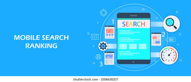 Mobile search ranking, Search engine optimization for mobile, Mobile SEO flat design illustration