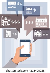 Mobile search for real estate. Hand with a smart phone with real estate listings in bubbles, vector illustration, no transparencies