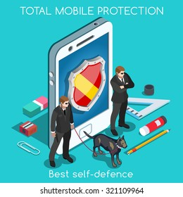 Mobile Secure Data Protect. 3D Vector Set Privacy Protection Antivirus Data Security Cryptography Online Firewall Bodyguard Smartphone spectre meltdown Safety Internet Security Infographic Internet 3D