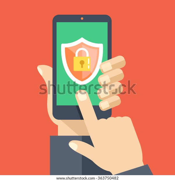 Mobile security app on smartphone screen. User touch screen. Flat design vector illustration