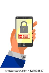 Mobile Security concept: Access Denied on smartphone. Hand holding smartphone with word Access Denied and lock icon on display