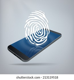 Mobile Security Concept. Fingerprint on top of smartphone. Layered file for easy customization. Fully scalable vector illustration.