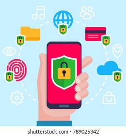 Mobile security, data protection concept. Hand holding smartphone, shield lock icon. Modern flat design graphic elements, thin line icons set for web banner, website, infographics. Vector illustration