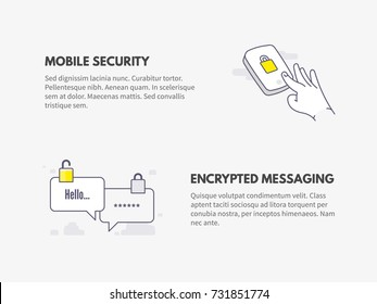 Mobile security and Encrypted messaging. Cyber security concept. Vector thin line illustration design.