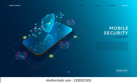 Mobile security modern concept. Smart app protects smart phone from thefts and hacker attacks. Internet of things technology of automatic protection. Vector illustration.