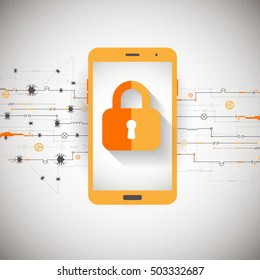 Mobile security protection. Vector illustration.