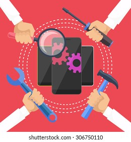 Mobile service concept. Smarthone with tools. Repair smart phone electronic. Hands with tools for repair phone. Flat icon modern design style concept. Diagnosis phones