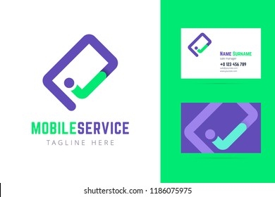 Mobile service logo and business card template. Smartphone symbol with check mark. Vector sign for service company.