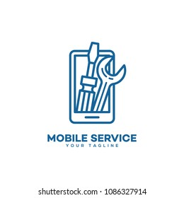 Mobile service logo design template in linear style. Vector illustration.