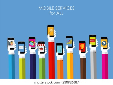 Mobile Services for All  Flat Concept for Web Marketing. Vector Illustration