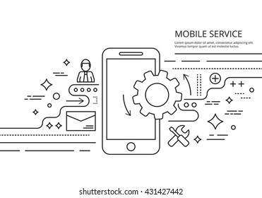 mobile services banner background line image vector illustration web thin