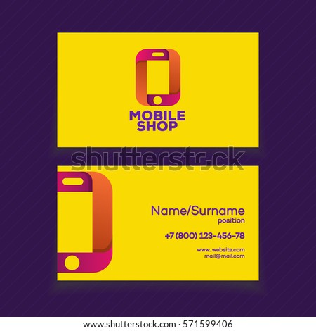 Mobile Shop Business Card Design Template Stock Vector Royalty Free