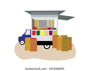 A mobile shop by car with boxes for fruits and vegetables. Car shop sells food on a white isolated background. Modern colorful vector illustration.