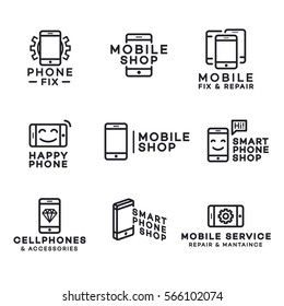 Mobile shop logo for corporate identity design. Cellphone store and accessories logo. Vector design elements, business signs, labels, badges and other branding objects.