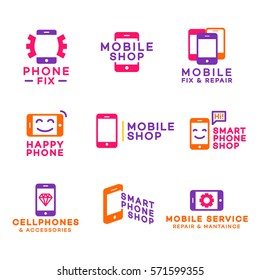 Mobile shop logo set color for corporate identity design. Smartphone store and accessories logo. Phone service and repair. Vector design elements, business signs, labels, badges, branding objects