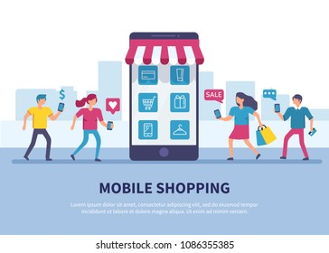 Mobile shopping concept banner with text place. Flat style minimal vector illustration.