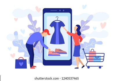 Mobile shopping consept. A man and a woman buy things in the online store. Shopping on social networks through phone flat design style. Online shopping vector illustration.