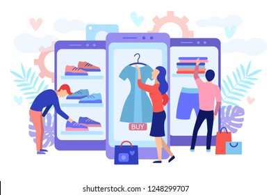 Mobile shopping consept. A men and a woman buy things in the online store. Shopping on social networks through phone flat design style. Online shopping vector illustration.
