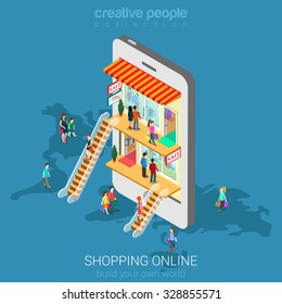 Mobile shopping e-commerce online store flat 3d web isometric infographic concept vector and electronic business, sales, black Friday. People walk on floors in stores boutiques like inside smartphone.