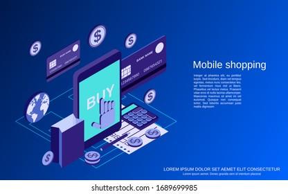 Mobile shopping flat 3d isometric vector concept illustration