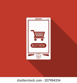 mobile shopping icon with long shadow