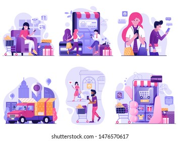 Mobile shopping and online store scenes for digital shop app. Internet purchase, buying and delivering concepts with people shopping on smartphone in e market. M commerce illustrations in flat design.