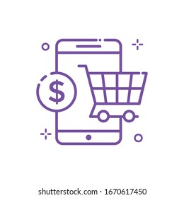 Mobile Shopping Vector illustration. Shopping and E-commerce Outline icon. EPS 10 File