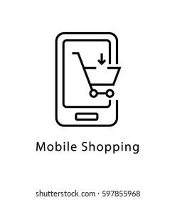 Mobile Shopping Vector Line Icon