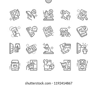 Mobile shopping Well-crafted Pixel Perfect Vector Thin Line Icons 30 2x Grid for Web Graphics and Apps. Simple Minimal Pictogram
