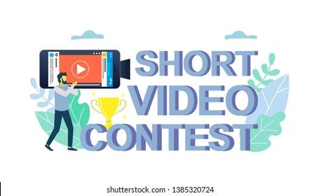 Mobile short video contest vector flat illustration. Short film competition. smartphone filmmaking for mobile film festival concept for web banner, website page etc.