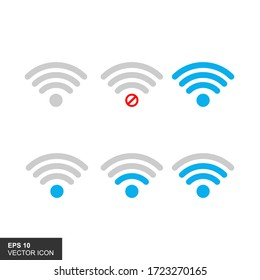 Mobile signal strength indicator template. Wi-fi, wireless connection, antenna signal strength, isolated vector illustrations on a white background.