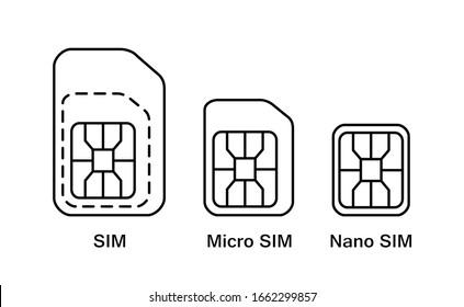 Mobile sim card type icons. Normal, Mini, Nano - phone card symbol set.
