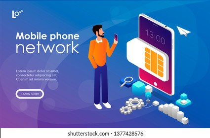 Mobile sim phone card and user with smartphone. Mobile phone network, smartphone plastic card and microchip, wireless cellphone communication concept. Website landing web page