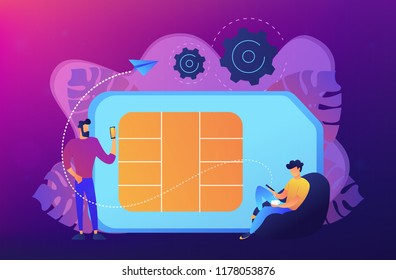Mobile sim phone card and users with smartphones. Mobile phone network, smartphone plastic card and microchip, wireless cellphone communication concept, violet palette. Vector isolated illustration.