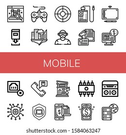 mobile simple icons set. Contains such icons as Ebook, Download, Game, Cloud, Seo, Virtual reality, Power bank, Advertising, Graphic tablet, can be used for web, mobile and logo